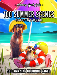 100 Summer Scenes - Coloring Book Cafe