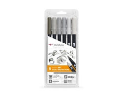 Tombow ABT Dual brush pen - oboustranný fix  – sada 6 ks - GRAY COLORS