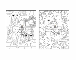 Dogs & Puppies Coloring Book - Coloring Book Cafe
