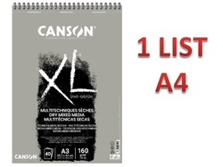 CANSON XL Mixed Media DRY - GRAY - 160 g/m2 - A4 - 1 LIST