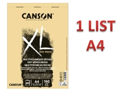 CANSON XL Mixed Media DRY - NATURAL - 160 g/m2 - A4 - 1 LIST
