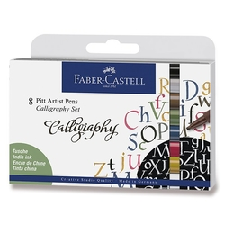 Faber-Castell Pitt Artist pens - CALLIGRAPHY - Indian ink - sada 8 ks