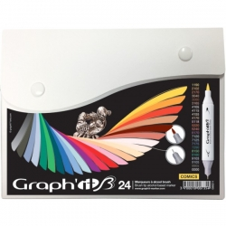 Graph'it Twin Brush Marker - oboustranný fix - sada 24 ks - Comics