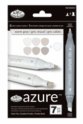 Royal & Langnickel AZURE Twin Marker - oboustranný fix - WARM GRAY - sada 7 ks