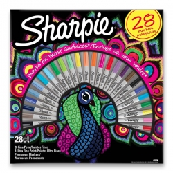 Sharpie permanent markers PEACOCK - permanentní fixy - sada 28 ks
