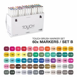 TOUCH Twin Brush Marker - oboustranný fix - ShinHan Art - sada 60 ks - sada B