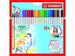 Stabilo Pen 68 BRUSH - fix s pružným hrotem - sada 24 ks