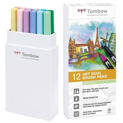 Tombow ABT Dual brush pen - oboustranný fix  – sada 12 ks - PASTELS