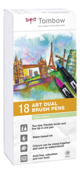 Tombow ABT Dual brush pen - oboustranný fix  – sada 18 ks - PASTELS