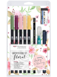 Tombow ABT Dual brush pen - oboustranný fix  – akvarelová sada FLORAL - 9 ks