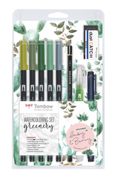Tombow ABT Dual brush pen - oboustranný fix  – akvarelová sada GREENERY - 9 ks