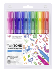 Tombow Twintone - oboustranný fix - RAINBOW - sada 12 ks