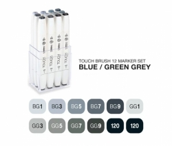 TOUCH Twin Brush Marker - oboustranný fix - ShinHan Art - sada 12 ks - BGG - BLUE-GREEN-GREY