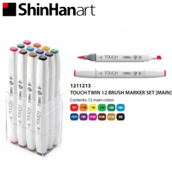 TOUCH Twin Brush Marker - oboustranný fix - ShinHan Art - sada 12 ks - MAIN COLORS