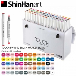 TOUCH Twin Brush Marker - oboustranný fix - ShinHan Art - sada 60 ks - sada A