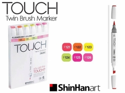TOUCH Twin Brush Marker - oboustranný fix - ShinHan Art - sada 6 ks - FLUORESCENT COLORS