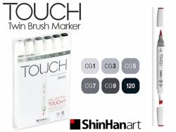 TOUCH Twin Brush Marker - oboustranný fix - ShinHan Art - sada 6 ks - GREY