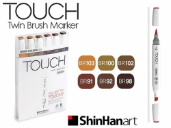 TOUCH Twin Brush Marker - oboustranný fix - ShinHan Art - sada 6 ks - WOOD - hnědé odstíny