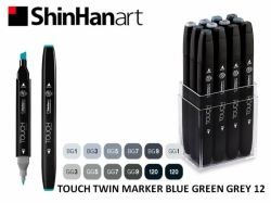TOUCH Twin Marker PEVNÝ - oboustranný fix - ShinHan Art - sada 12 ks - BLUE GREEN GREY