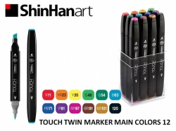 TOUCH Twin Marker PEVNÝ - oboustranný fix - ShinHan Art - sada 12 ks - MAIN COLORS