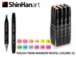TOUCH Twin Marker PEVNÝ - oboustranný fix - ShinHan Art - sada 12 ks - PASTEL COLORS