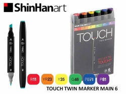 TOUCH Twin Marker PEVNÝ - oboustranný fix - ShinHan Art - sada 6 ks - MAIN COLORS