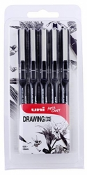 UNI Uni-ball PIN Fineliner Drawing pens BLACK - tenké linery - sada 5 ks
