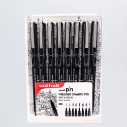 UNI Uni-ball PIN Fineliner Drawing pens BLACK - tenké linery - sada 8 ks
