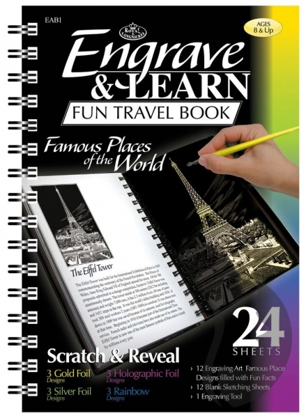 Engrave & Learn Fun Travel Book - FAMOUS PLACES of the WORLD - vyškrabávání