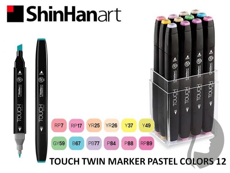 TOUCH Twin Marker - oboustranný fix - ShinHan Art - sada 12 ks - PASTEL COLORS