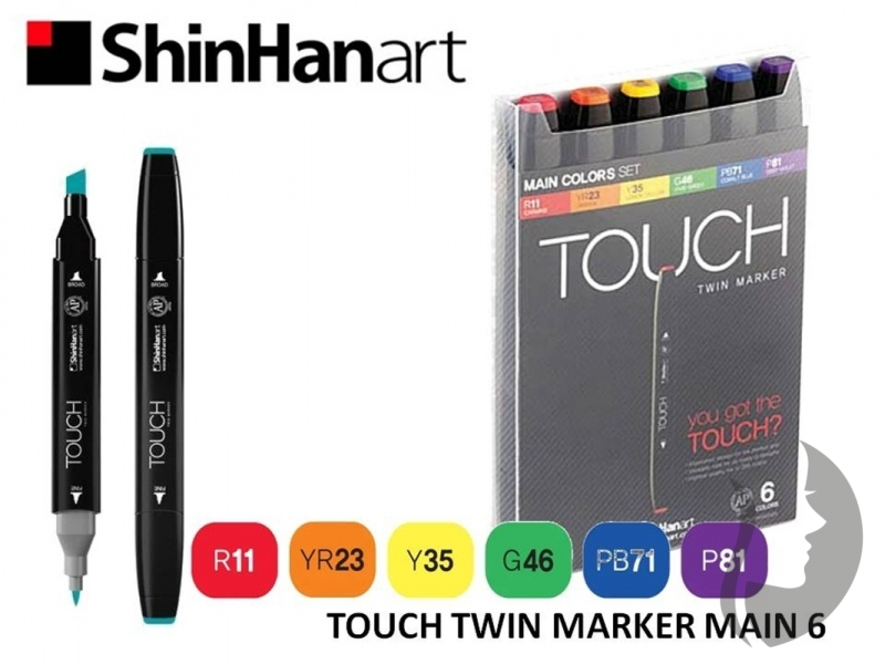 TOUCH Twin Marker - oboustranný fix - ShinHan Art - sada 6 ks - MAIN COLORS